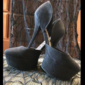 8-8.5 black microfiber 7 inch heel